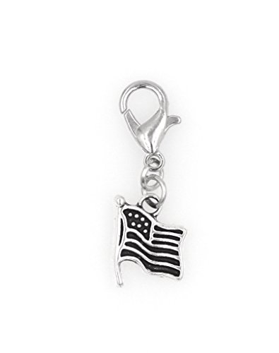 STAINLESS STEEL Clasp and Jump Rings American Flag Clip On Charm Bead Perfect for Necklaces or Bracelets.