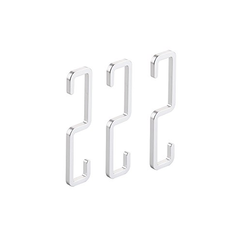 - Kes Solid Aluminum S Hook for Hanging Heavy Duty Kitchen Garage Utensil Storage Utility Large Hook 3 Pcs Pack Anodized Silver, PSH400-P3