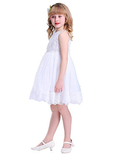 Bow Dream Lace Vintage Flower Girl's Dress Off White 6 ()