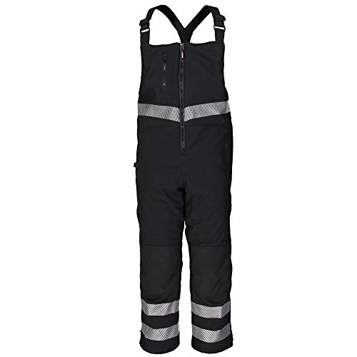 RefrigiWear Men's Water-Resistant Insulated Softshell Enhanced Visibility Bib Overalls with Reflective Silver Tape (Black, Medium) (Reflective Bib)