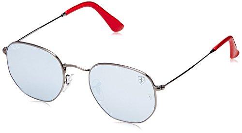 Ray-Ban RB3548NM Scuderia Ferrari Collection Square Sunglasses, Gunmetal/Silver Flash, 51 mm (Collection Sunglasses)