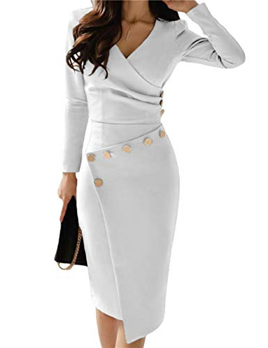 SEBOWEL Women's Deep V Neck Casual Work Bodycon Cocktail Party Pencil Midi Dress White L