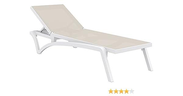 COSTA Tumbona para piscina y jardín Chaise longue – blanco/blanco – Resina reforzada de fibra de vidrio: Amazon.es: Jardín