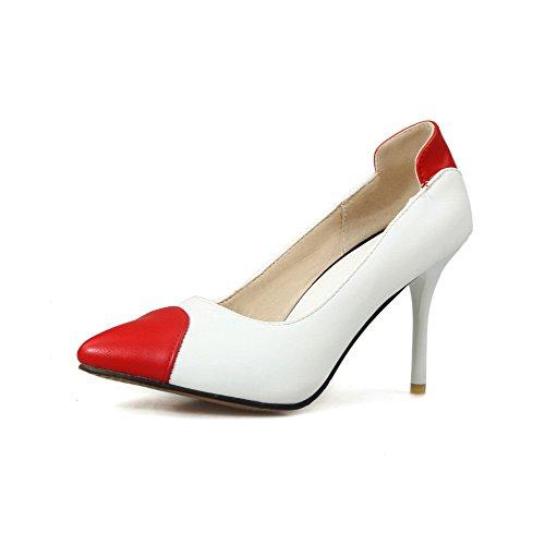 Amoonyfashion Kvinna Dra Pu Pekade Slutna Tå Spikar Stilettos Pumpar-skor Vita