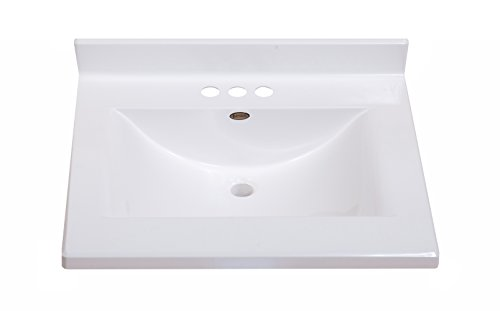 Imperial FW2522SPW Center Wave Bowl Bathroom Vanity Top, Solid White Gloss Finish, 25-Inch Wide by 22-Inch Deep