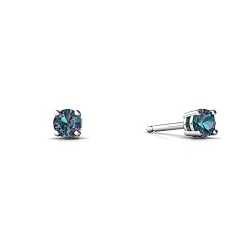 14kt Gold Lab Alexandrite 3mm Round Round Stud Earrings