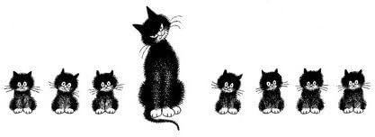 Los Gatos de Dubout - La Alineación - A:12 cm - segun un dibujo de ...