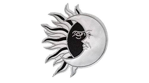 SUN MOON Iron On Patch Applique Motif Fabric Decal 4.5 x 4 inches (11.3 x 10 cm)