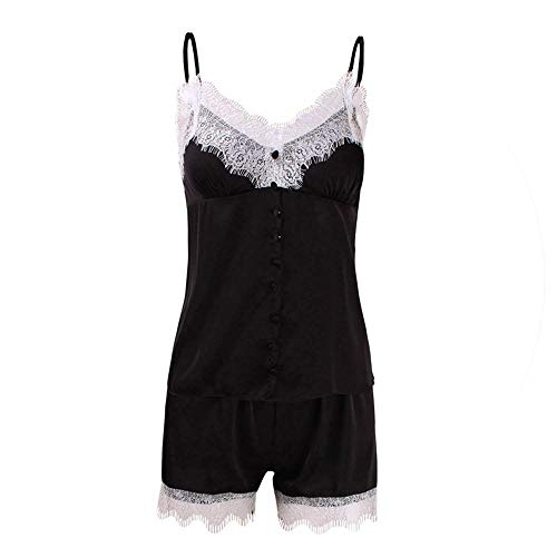 Satin Pajama Set Lace Pyjama Set Summer Sleeveless Lace Cami and Shorts Pijama Set Sleepwear for Women Homewear Black
