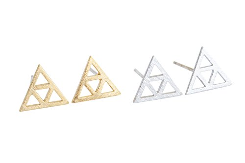 hot topic nickel free jewelry fashion ear self traugus piercing cartilage casual cute unique for women teen girls Triangle pyraid triforce ear studs earrings- HA -