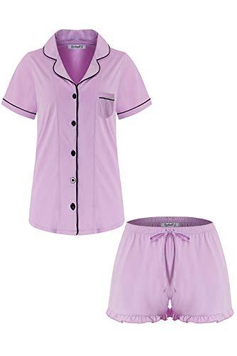 (SofiePJ Women's Cotton Short Sleeve Short Pants Pajama Set Light Pink M)