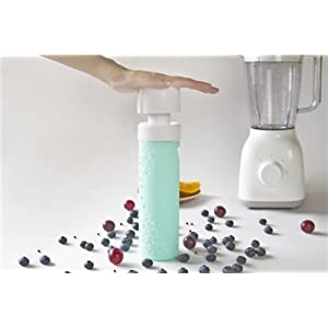 SANS Reusable Vacuum Pump Smoothie and Shake Saving Glass Bottle (16-Ounce, Mint Green)