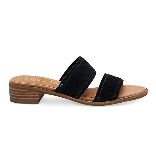 TOMS Women Mariposa Two-Strap Slide Sandal, Black Suede (7.5 B US) ()