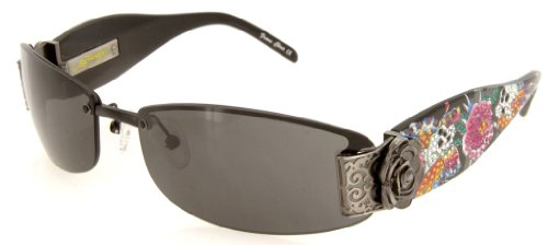 Ed Hardy Sunglasses - EHS 020 Skull Butterflies / Frame: Black Lens: Gray (Ed Hardy Accessories)