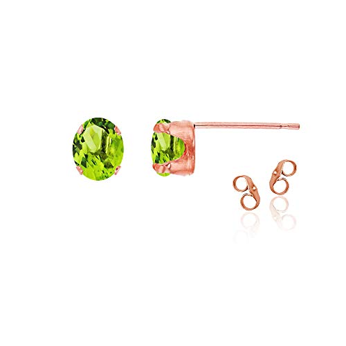 14K Rose Gold Plated 925 Sterling Silver 6x4mm Oval Natural Green Peridot August Birthstone Stud Earrings