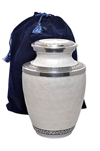 Love to Treasure Large White Pearl and Silver Enamel Urn in Aluminium for Adult or Pet Dog Ashes Cremains Memorial