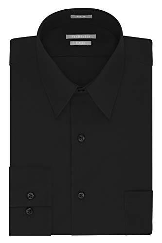 Van Heusen Men's Poplin Fitted Solid Point Collar Dress Shirt, Black, 17.5