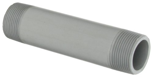 """GF Piping Systems CPVC Pipe Fitting, Nipple, Schedule 80, Gray, 6"""" Length, 1-1/4"""" MPT from GF Piping Systems"""