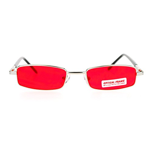 SA106 Small Mens Rectangular Metal Rim Classic Color Lens Sunglasses Silver Red (Sunglasses Men For Rectangle)