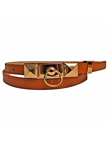 (Camel Skinny Dress Belt With Pyramid Buckle)