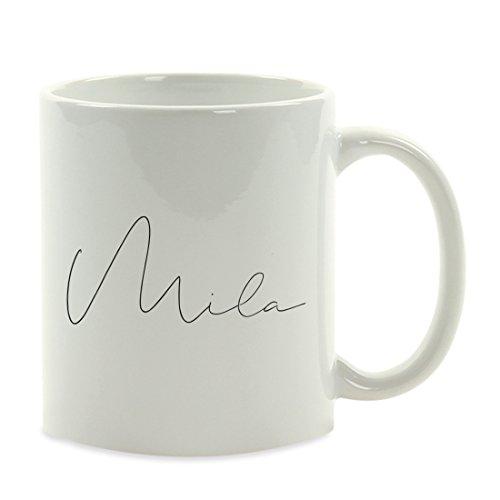 Andaz Press Fully Personalized 11oz. Coffee Mug Gift, Parisian Script, 1-Pack, Custom Name or Text, Bespoke Christmas Birthday Bridesmaid Maid of Honor Groomsman Wedding Bridal Shower Gift Ideas -