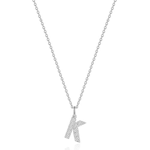 Carleen White Gold Plated 925 Sterling Silver AAA Clear Cubic Zirconia CZ Dainty Initial Necklace Letter Alphabet Pendant Chain Jewelry for Women Girls, 16