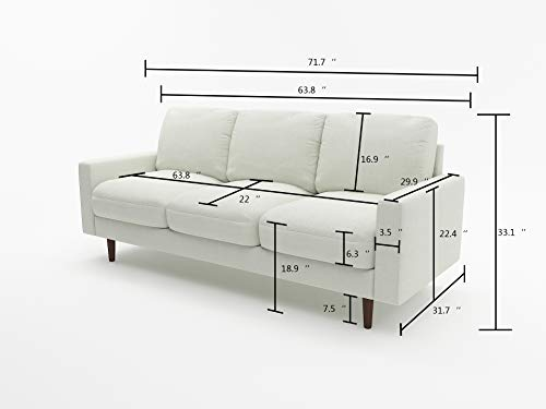 US Pride Furniture Obadiah Sofa, Beige - Wooden legs Removable back cushions Velvet upholstery material - sofas-couches, living-room-furniture, living-room - 313y26UTkGL -
