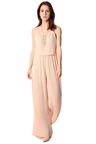 Q2 Women's Nude Zweilagiges overall in plissierter Stoff