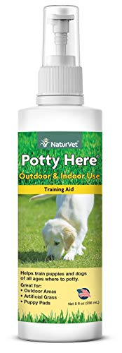 NaturVet – Potty Here Training Aid Spray – Attractive Scent Helps Train Puppies & Dogs Where to Potty – Formulated for Indoor & Outdoor Use – 8 oz