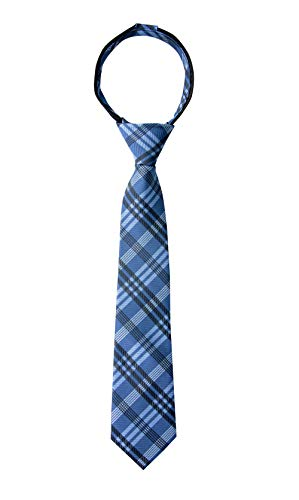 (Spring Notion Boy's Plaid Woven Zipper Tie Blue Large)