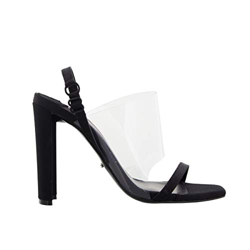 Tony Bianco Shaq Block Heels - Open Toe Sandals with Clear Strap and Sling Back