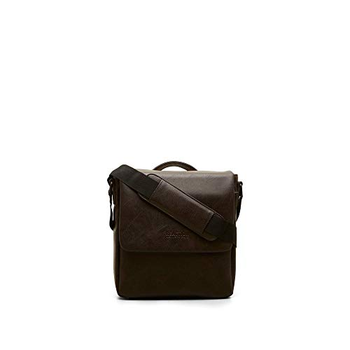 Kenneth Cole Reaction Travelier Satchel Messenger Vegan Leather Laptop Computer Shoulder Bags, Brown, Travel Day