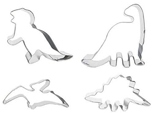 4 Dinosaur Shaped Cookie Cutters - Stainless Steel Dino Shape Molds - T Rex Brontosaurus Pterodactyl Stegosaurus Shapes - Gift box set by Jolly Jon ()