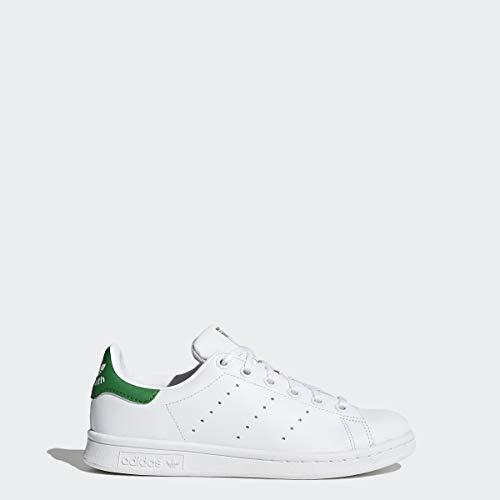 adidas Originals Kids' Stan Smith Sneaker, Footwear White/Footwear White/Green, 4.5
