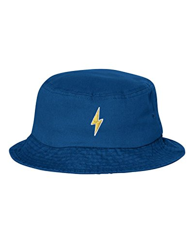 One Size Royal Blue Adult Lightning Bolt Embroidered Bucket Cap Dad Hat