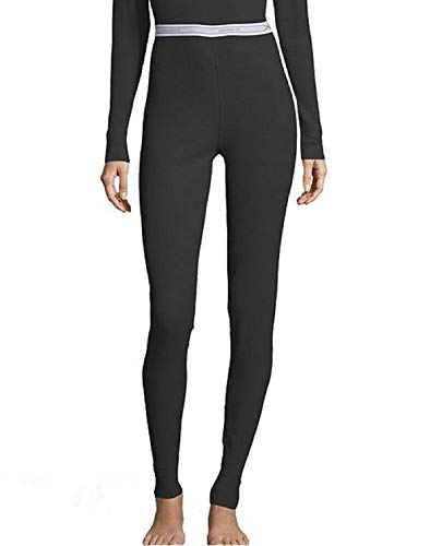 Hanes Women's Tagless Thermal Waffle Knit Pant with FreshIQ, X-Temp Technology & Organic Cotton - Plus Black ()