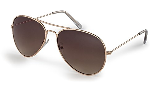 Stylle Aviator Sunglasses, Gold Frame With Brown Lenses, 100% UV Protection