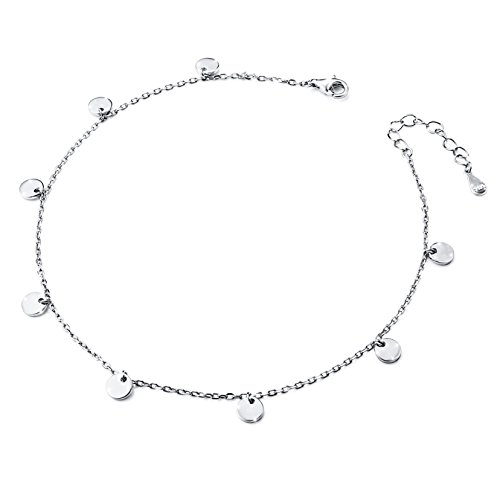 - Dot Slice Anklet for Women Girl S925 Sterling Silver Adjustable Beach Style Foot Ankle Bracelet Jewelry extra 10