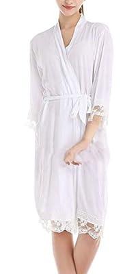 MU2M Women Lightweight Loungewear Kimono Lace Trim Nightgown Pajama Spa Robe