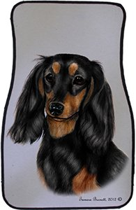 Black Tan Longhaired Dachshund Car Floor Mats - Carepeted All Weather Universal Fit for Cars & Trucks by Unknown (Image #1)