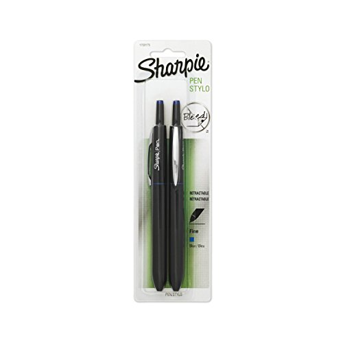 Sharpie Pen Retractable Fine Point Pen, 2 Blue Ink Pens (1753175)
