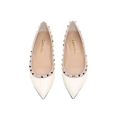 Caitlin Flats Gladiator Pan Pointed Flat On Rivets Slip Toe Women Heels White Casual Studded rfqr7