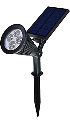 USYAO Spotlight Upgraded 4 LED 200 Lumen Sun-powered Spot Light Integrated Panel and Light, Solar Rechargeable Waterproof Black Color , with Adjustable Angle and Bright Illumination