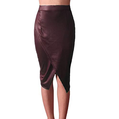 Pencil Waist Tab Skirt (Women Leather TPU High Waist Pencil Skirt Bodycon Midi Skirt Party Club Winter)