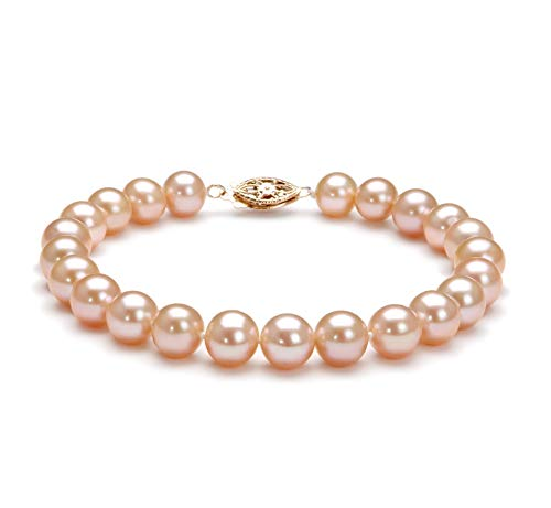 Pink 7-8mm AA Quality Freshwater Gold filled Cultured Pearl Bracelet For Women-8 in length