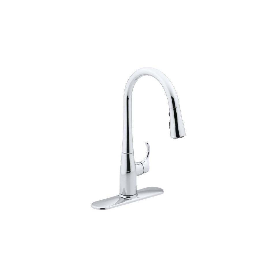 Kohler K597CP Simplice Single Handle Pull Down Sprayer Kitchen Faucet, Polished Chrome