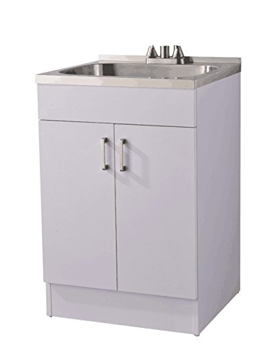Laundry Cabinet with Stainless Steel Sink, Include strainer with basket , 24 Inch, Pure White