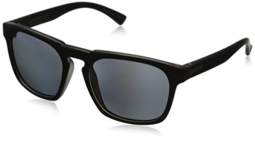 VonZipper Banner Polar Polarized Rectangular Sunglasses, Black Satin/Grey Poly Polar, 55 - Cambridge Sunglasses