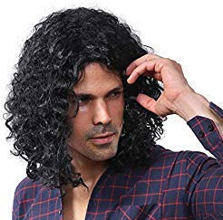 Starcourtyard 70s Long Black Curly Wig for Men Halloween Cosplay Wigs by Starcourtyard