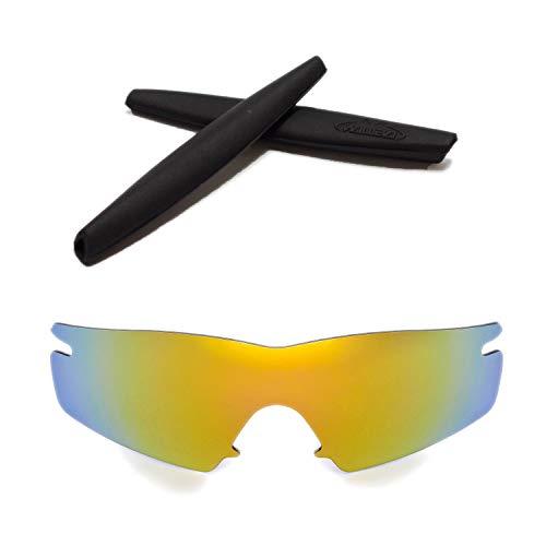 Walleva Replacement Lenses + Rubber for Oakley M Frame Strike Sunglasses - 26 Options Available (24K Gold Polarized Lenses + Black Rubber) (Oakley Twenty Black Frame)